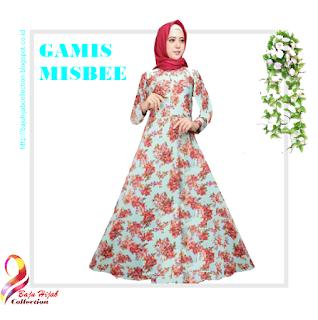 Gamis Misbee Tosca Red Motif Bunga