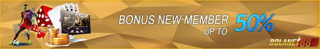 Promo Bonus newmember terbesar 20% 50% 100% dari bolanet88