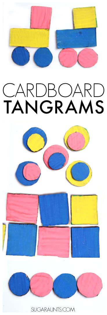 Make cardboard tangrams and work on visual memory, visual form discrimination, and more visual perceptual skills in kindergarten and first grade kids.  Shape identification, colors, copying, patterns and more