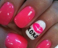 Easy Pink Hot XO Love Heart Valentine Cute Nail Design