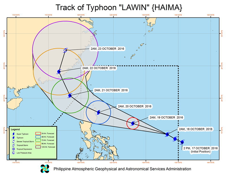 'Bagyong Lawin' PAGASA weather update October 18, 2016