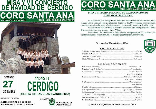 Misa y VII Concierto de Navidad de Cerdigo- Coro Santa Ana en Castro Urdiales