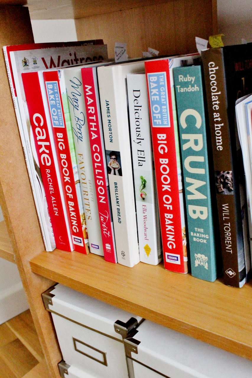 Recipe books on shelves