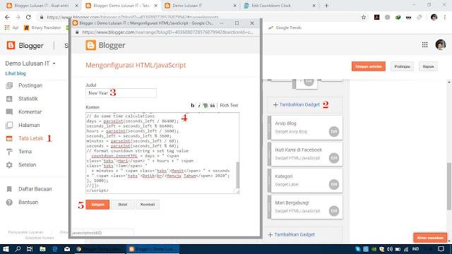 Simpan Kode HTML Tadi pada Widget Blogger