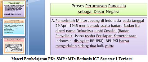 Materi Pembelajaran PKn SMP / MTs Berbasis ICT Semster 1 Terbaru