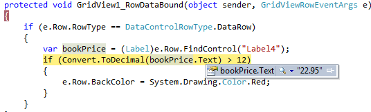 GridView Find Control Value on RowDataBound In Asp Net Using