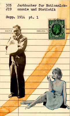 vintage photographs woman in dress man in suit holding baby king george postage stamp library due date card Dada Fluxus Joseph Cornell mail art collage