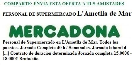 L'Ametlla De Mar, Tarragona. Lanzadera de Empleo Virtual. Oferta Mercadona