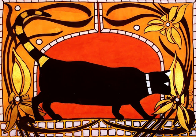 Black Cat with Floral Motif of Art Nouveau by Dora Hathazi Mendes