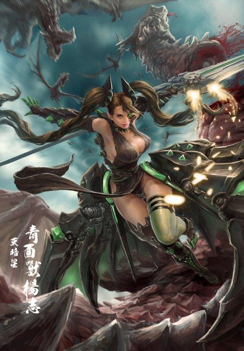 Frankiew Yip artstation arte ilustrações fantasia ficção games oriental chinesa mulheres