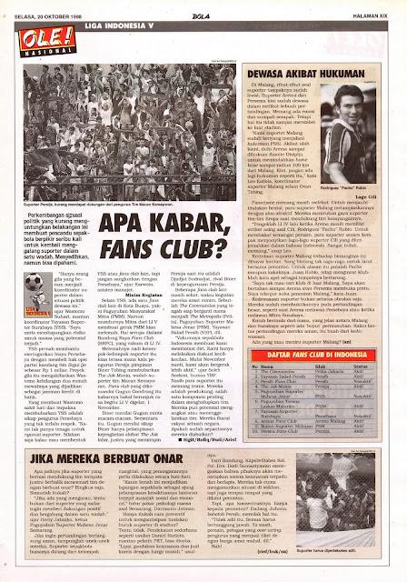 LIGA INDONESIA V: APA KABAR, FANS CLUB