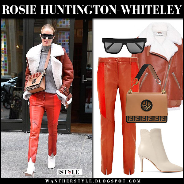 Rosie Huntington-Whiteley in brown shearling jacket acne studios, red leather givenchy pants and white ankle boots gianvito rossi street style march 27