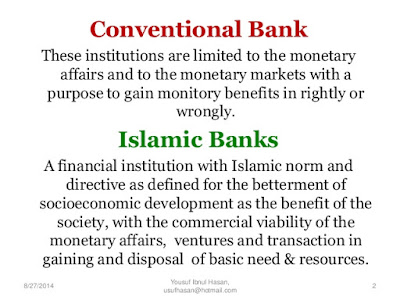 distinguish between islamic conventional banking Differences in islamic and conventional banking evidences suggest islamic banking is very much practiced like modern conventional banking with certain restrictions imposed by sharia and addresses the large number of.