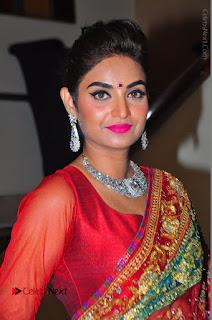 Model Sharon Fernandes Stills in Red Saree at Trendz Exhibition Launch  0023.JPG