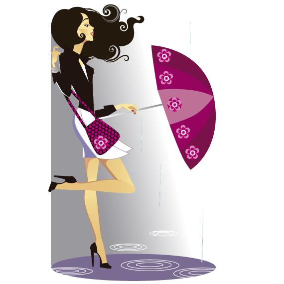 Mujer y gotas de lluvia