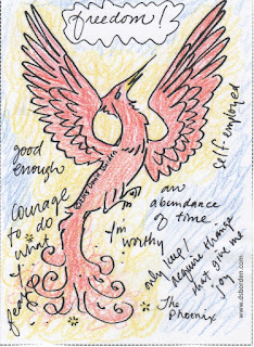 color drawing of a phoenix rising from the ashes by David Borden