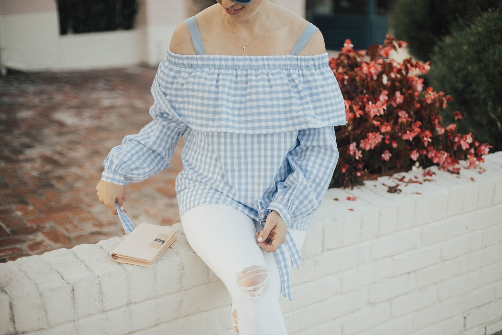 gingham off the shoulder top outfit