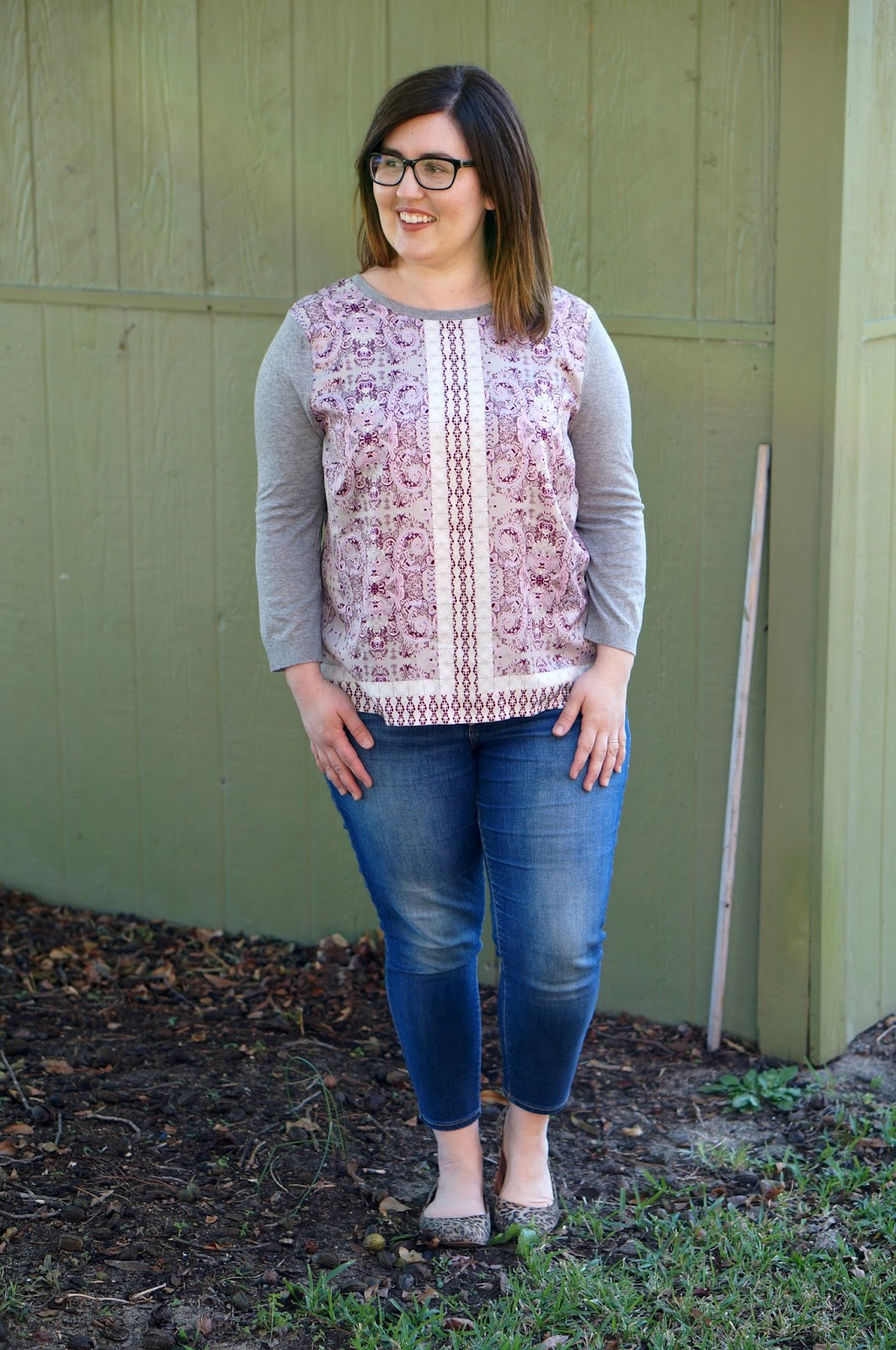 Rebecca Lately Stitch Fix 41 Hawthorn Jakob Mixed Material Top