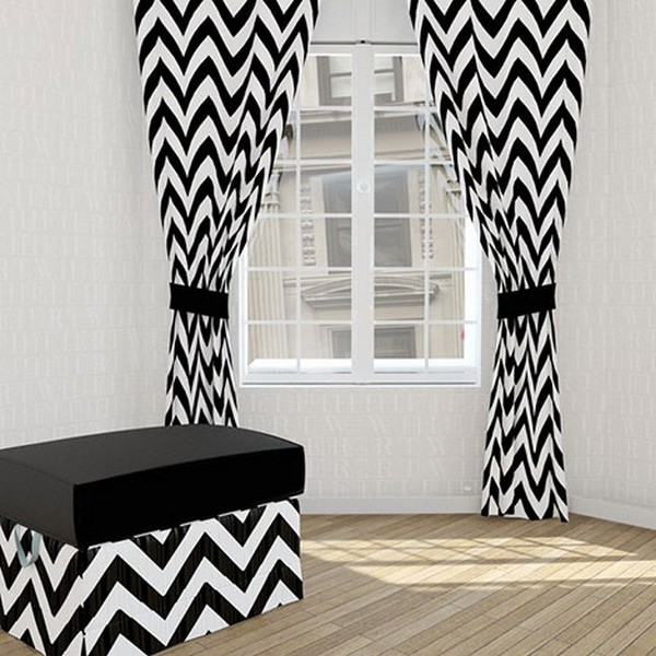 modern curtain patterns: black and white zigzag window curtain design
