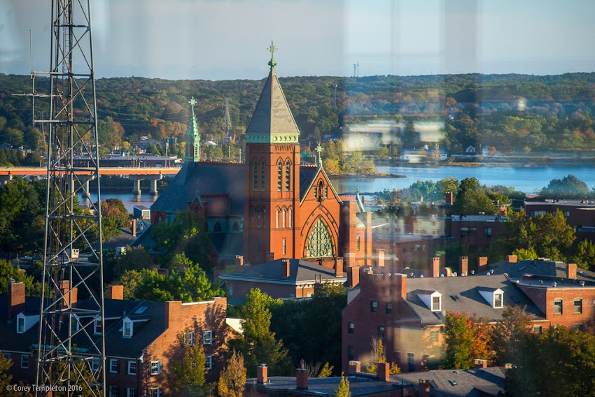 Portland, Maine USA October 2016 photo by Corey Templeton. Photo looking at the Maine Irish Heritage Center (in the old St. Dominic's Church) from the Top of the East.