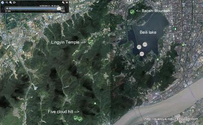 Mapa en Hangzhou, zona de geocaches