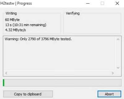 Cara Cek Kapasitas Real Flashdisk Dengan H2testw