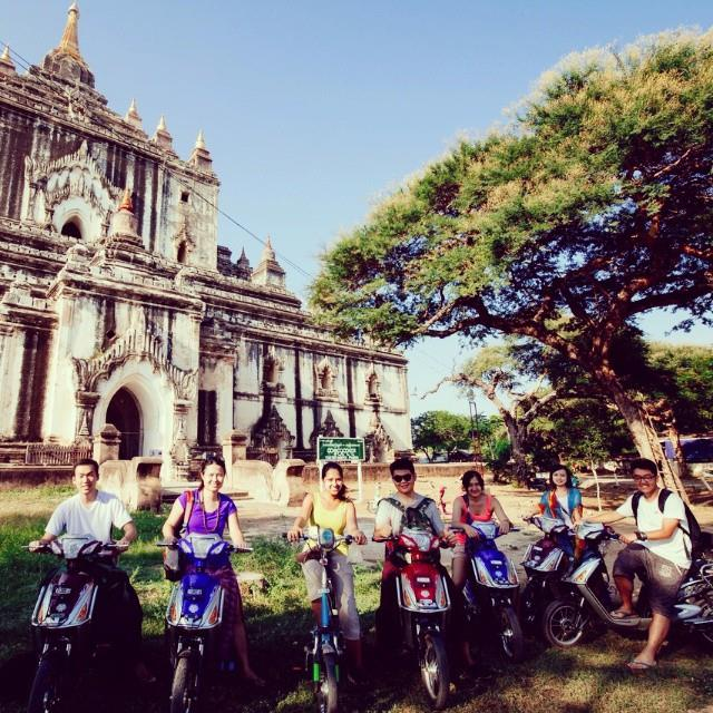 A bunch of scooter riders in Bagan, Myanmar