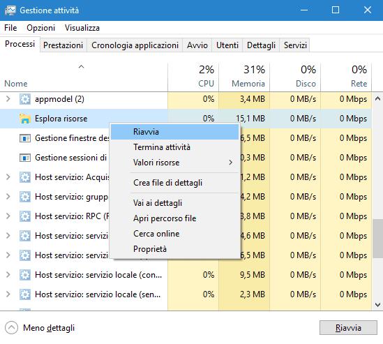 Task Manager Windows 10 riavviare Esplora risorse