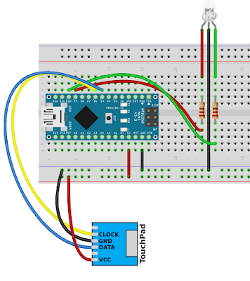 Connect the touchpad and LED to Arduino