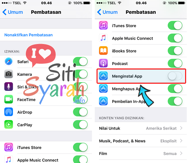 mencegah install aplikasi di iPhone