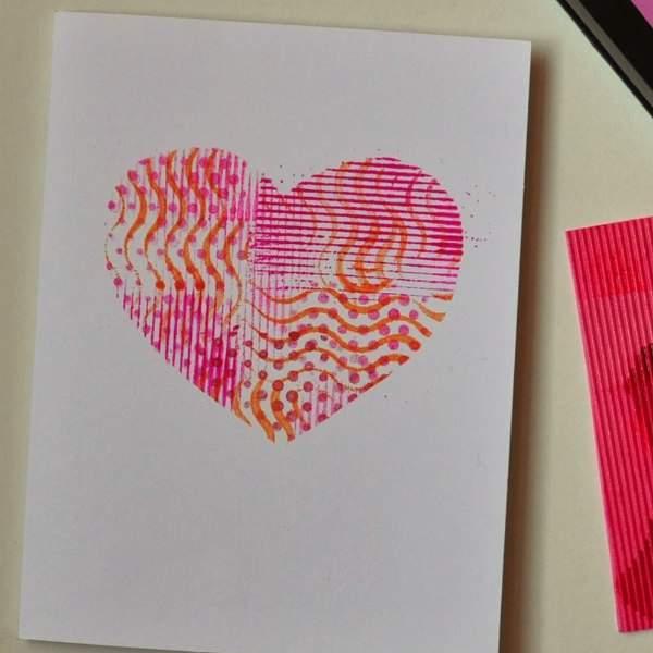stenciled heart card