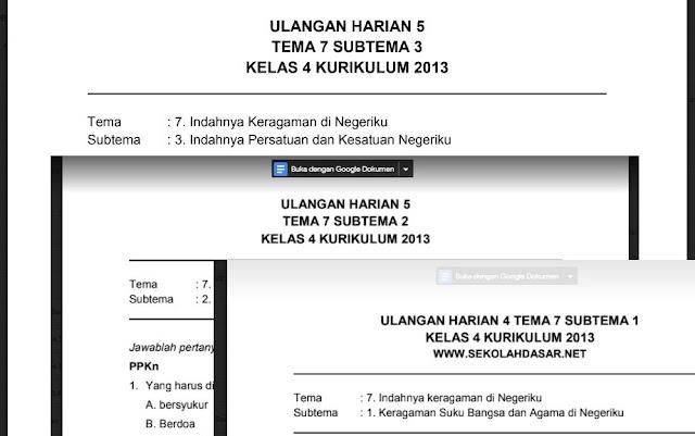 Kumpulan Soal Ulangan atau Penilaian Harian Kelas 4 Tema 7