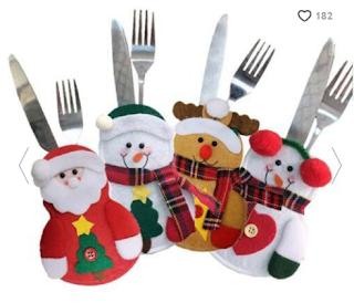 Christmas Decoration Santa Claus Snowman Elk Knife and Fork Storage Bag