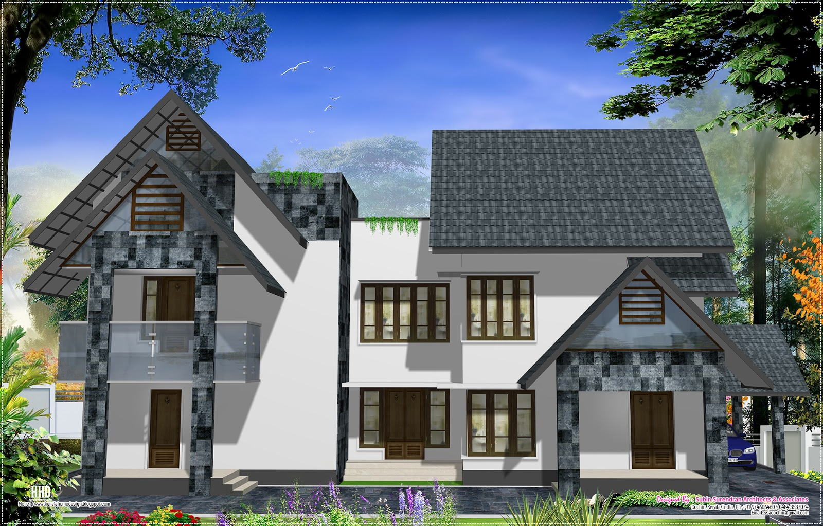 Western style home design in kerala home kerala plans for Kerala style homes plans free