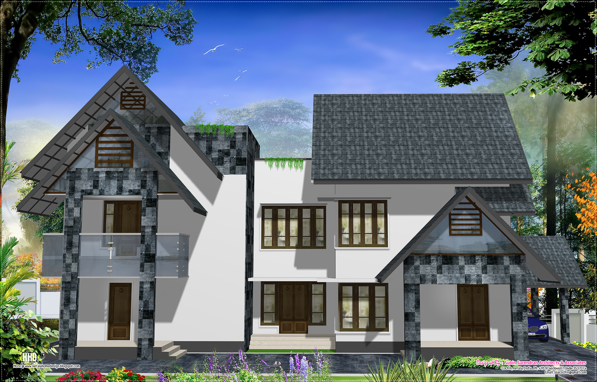 Western style home design in kerala kerala home design for Western house plans