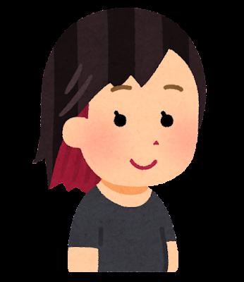 インナーカラーのイラスト(髪)