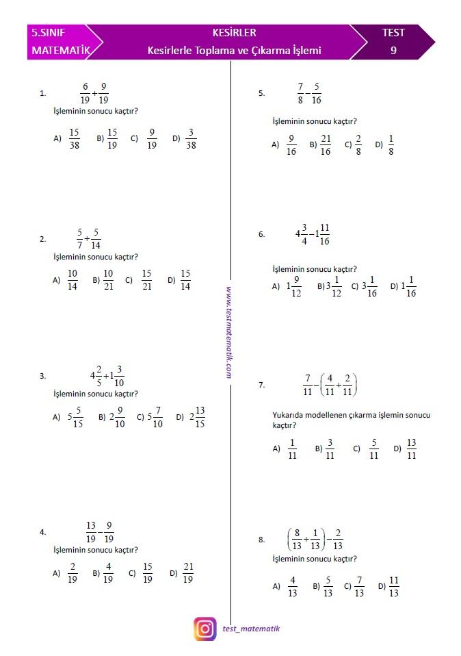 5 Sinif Kesirlerle Toplama Ve Cikarma Islemi Test Test Matematik