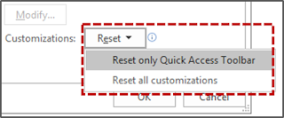 Mereset Quick Access Toolbar