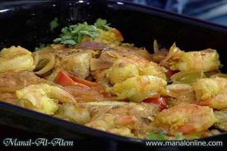 صينية السمك والروبيان من مطبخ منال العالم