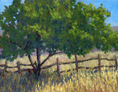art landscape impressionism tree fence painting rural