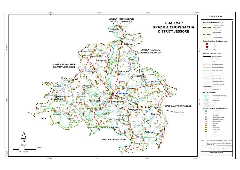 Chowgacha Upazila Road Map Jessore District Bangladesh