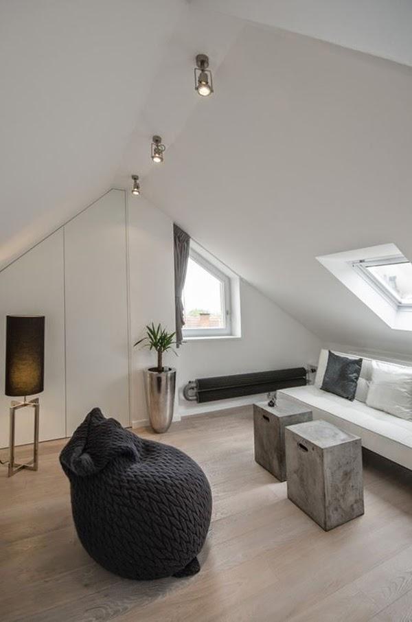paint ideas for bedroom ceilings - VM designblogg H Γκρι Μοντέρνα Σοφίτα στην Πράγα
