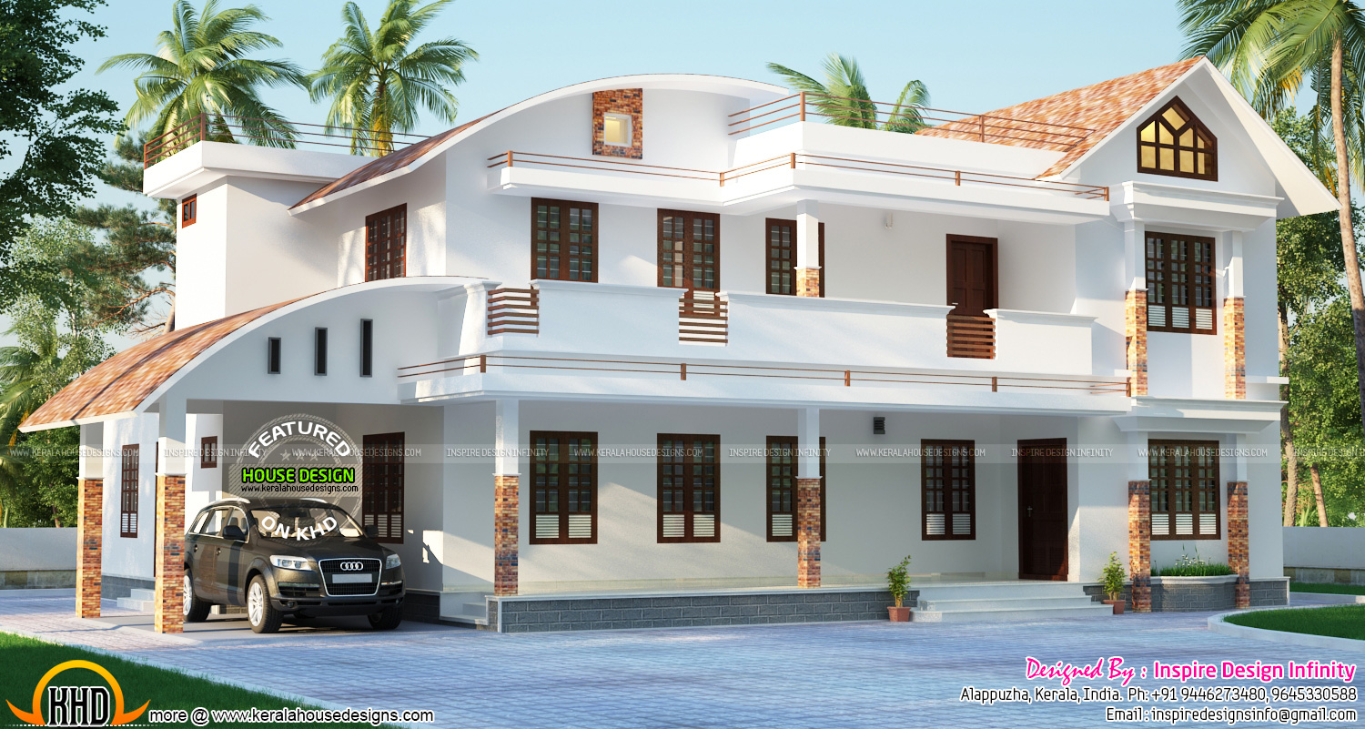 Modern curved roof home kerala home design and floor plans for House roof designs in kerala