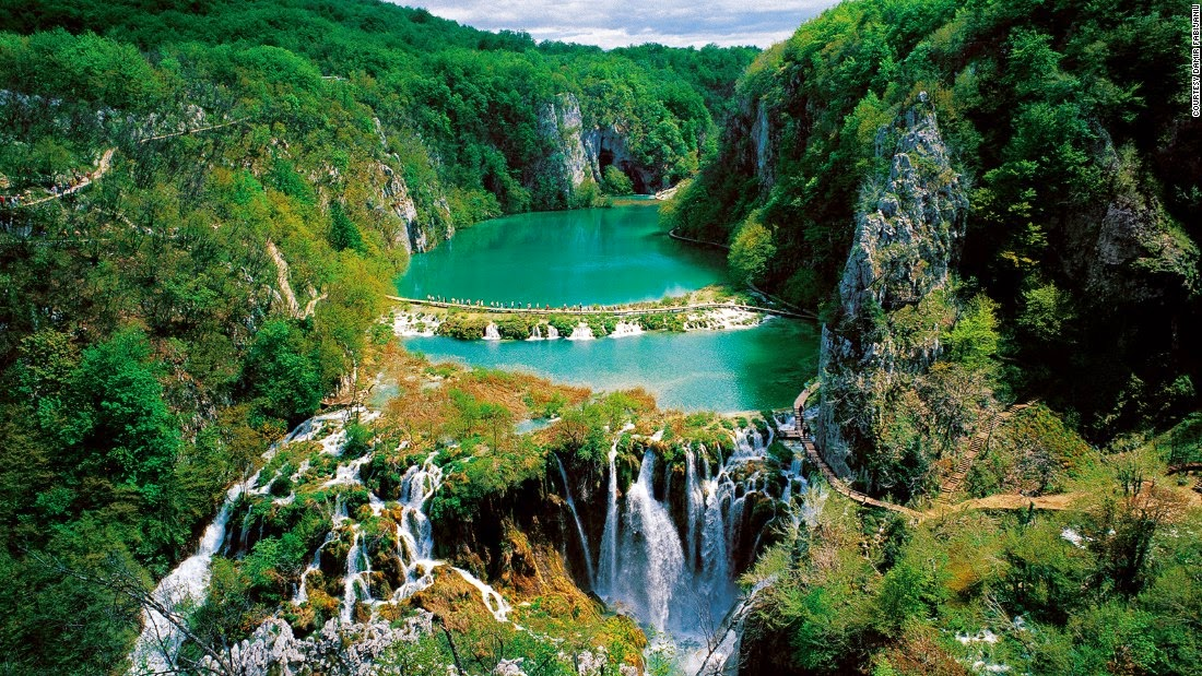 Surrounded by forests of beech, fir and spruce, a multi-level system of 16 lakes spills into waterfalls and pools in Croatia's Plitvice Lakes National Park. The lakes are known for their distinctive colors, which can be turquoise, green, blue or gray