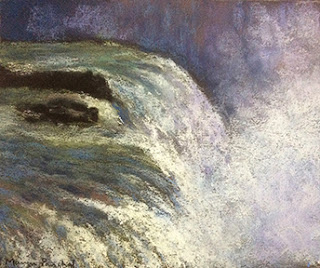 Original soft pastel painting of The Gulfoss Waterfall at Iceland by Manju Panchal