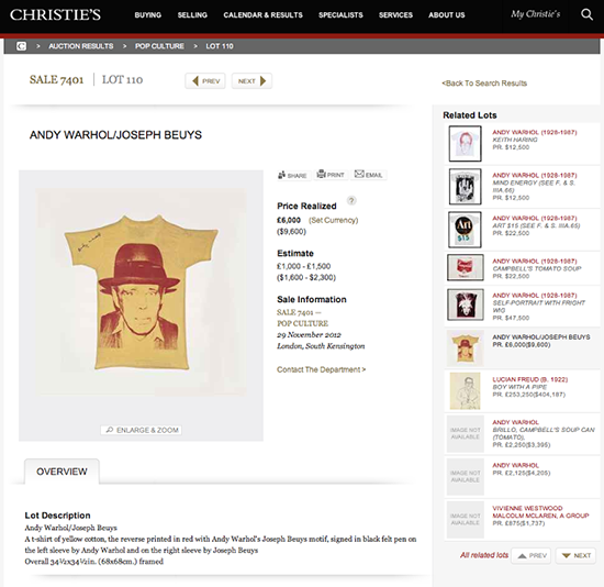 Andy Warhol T-Shirt on Yellow Cotton Sold by Christie's For $9,600 in November 2012