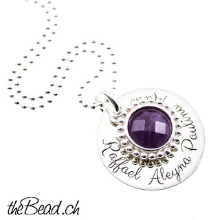 Amethyst Gravur Halskette made by theBead
