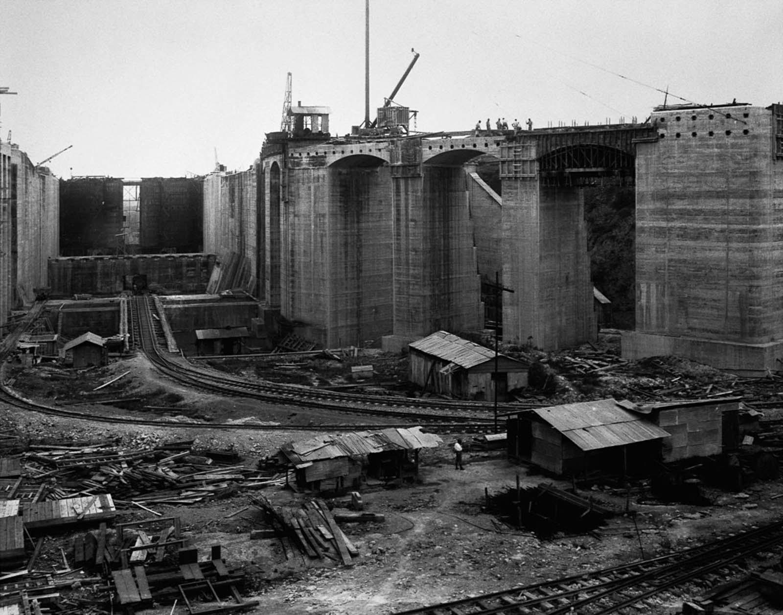 The Gatun Locks under construction between the Atlantic Ocean and Gatun Lake. 1913.