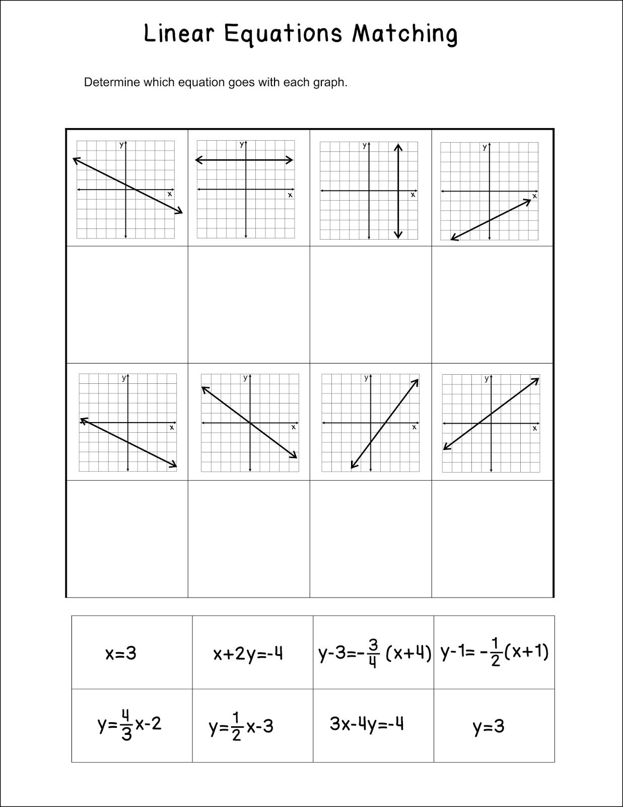 Miss Mathematics Linear Equations Matching Activity