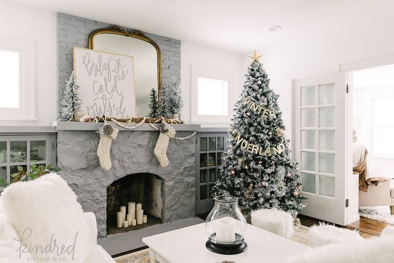 Living room with Romantic Farmhouse Christmas holiday decorating shabby chic